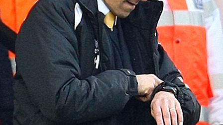 'Is it over yet?' Chris Hughton checks how much time is left during the 0-0 draw at home to Fulham.