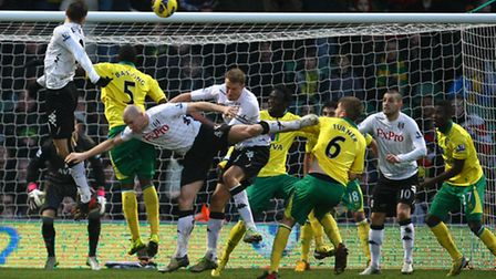 A late scramble in the Norwich City box was one of few moments of note from the game. Picture: Paul
