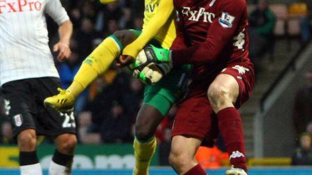 Kei Kamara's debut was one of the few moments of excitement at Carrow Road on Saturday. Picture: Pau
