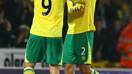 Russell Martin and Grant Holt celebrate after Norwich City's stirring 1-0 early season Premier Leagu