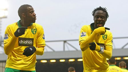 Kei Kamara (right) celebrates his equaliser by throwing some shapes with Sebastien Bassong. Picture:
