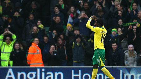 Kei Kamara celebrates with the home fans at the end of the game. Picture: Paul Chesterton / Focus Im