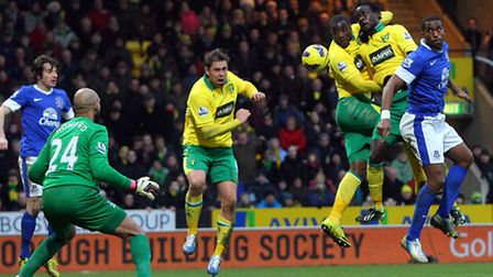Sebastien Bassong and Kei Kamara combine to head down for Grant Holt to score the winning goal. Pict