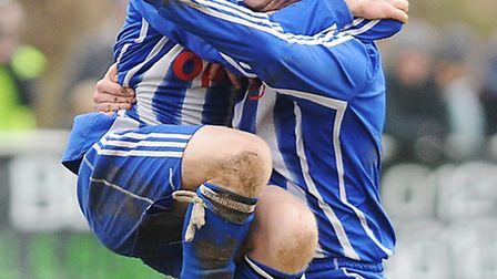 Andy Eastaugh, right, scored for Wroxham.