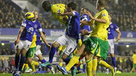 A moment to savour for City defender Sebastien Bassong as he heads home a late equaliser at Everton