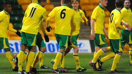 Celebrations from Norwich City's FA Youth Cup win over Millwall.