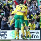 Norwich City players and fans celebrate Elliott Bennett's goal against Reading. Picture: Paul Cheste