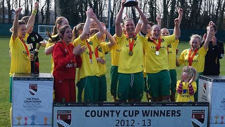 Norwich City Ladies lift the Norfolk Women's Cup.