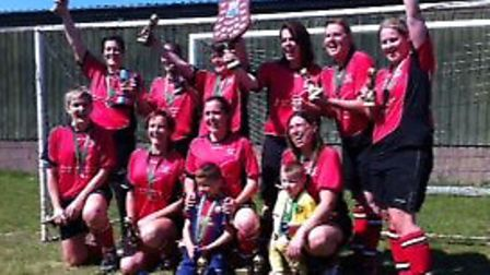 Costessey Ladies after winning the Norfolk Sevens League Cup.