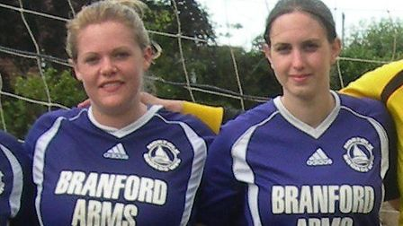 Cath Heslin, who netted a dramatic winner for Belles, and player of the match Keri Boorman.