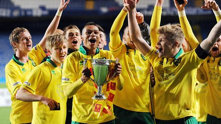 Norwich City's Under-18s celebrate winning the FA Youth Cup at Stamford Bridge. Picture: Matthew Ush