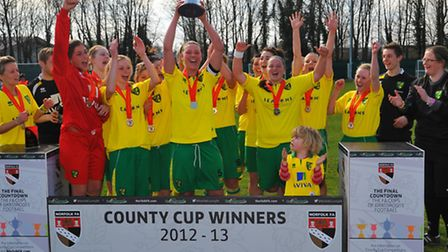 Norwich City Ladies lift the County Cup.