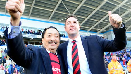 Cardiff City chairman Vincent Tan (left) and manager Malky Mackay.