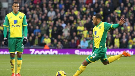 Nathan Redmond's free-kick is watched by Martin Olsson. Picture: Paul Chesterton/Focus Images