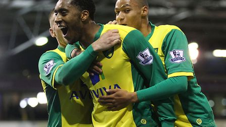 Leroy Fer scores Norwich City's second goal at West Brom earlier in the season. Picture by Paul Ches