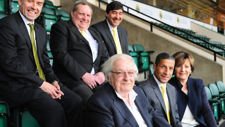 The Norwich City board and Chris Hughton, following the managers appointment in 2012. Picture: Denis