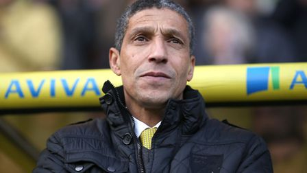 Norwich City manager Chris Hughton watches on from the Carrow Road dugout - something he has done fo