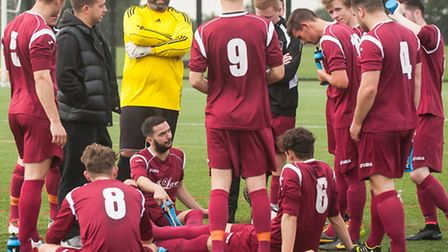 Half-time discussion for Schoolhouse, who were 4-0 at the midway stage of their Sunday League match