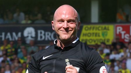 Referee Simon Hooper had an afternoon to forget at Carrow Road. Picture: Paul Chesterton/Focus Image