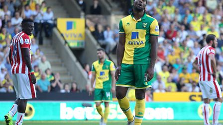 Cameron Jerome rues a missed chance during Norwich City's 1-1 draw with Stoke. Picture by Paul Chest