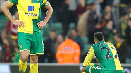 Russell Martin and Nathan Redmond at the end of the defeat to West Brom. Picture: Paul Chesterton/Fo