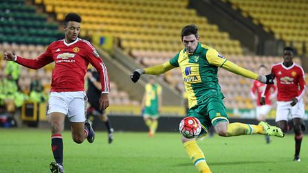 Kyle Lafferty scores the opening goal to put Norwich City Under-21s 1-0 up against Manchester United