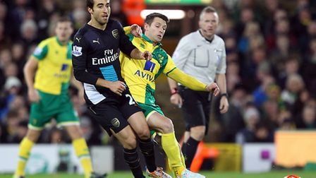 Wes Hoolahan is back in the mix for Norwich City's Premier League game against Everton. Picture: Pau