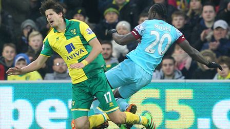 Timm Klose is beaten by Victor Moses in the build-up to West Hma's first goal. Picture: Paul Chester
