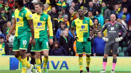 The Norwich City players look dejected after conceding a third goal against Sunderland. Picture: Pau