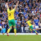 Jonny Howson scores for City at Portman Road in the 2015 Championship Play-Offs. Picture: Paul Chest