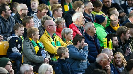 Norwich City fans during the Championship match at Carrow Road against Preston. Picture: Andy Kearns