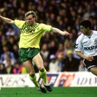 Robert Fleck in action for City against Tottenham in 1990, being marked by future Norwich boss Chris