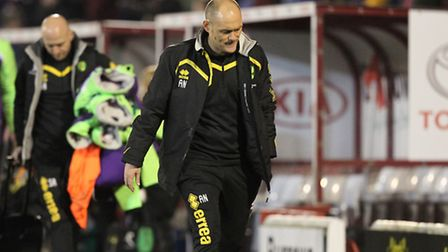 Norwich City manager Alex Neil looks dejected as he leaves the pitch at the end of the match at Barn