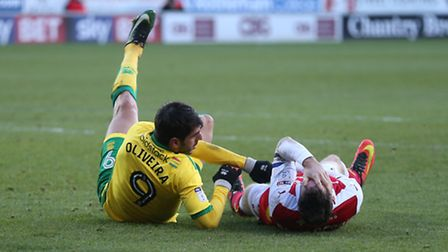 Nelson Oliveira tangles with Kirk Broadfoot at Rotherham - and is sent off by referee Geoff Eltringh
