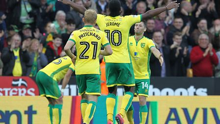 Cameron Jerome celebrates scoring for City against Rotherham at Carrow Road earlier this seaosn. Pic