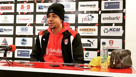 Tom Adeyemi addresses the media following his goal and assist in Rotherham United's home Championshi