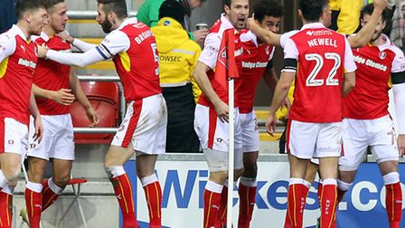 Tom Adeyemi enjoys the rare chance to celebrate a meaningful goal for Rotherham United - against his