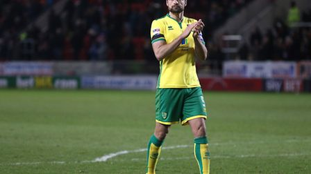 Russell Martin thanks the Norwich City support at New York Stadium. Picture by Paul Chesterton/Focus