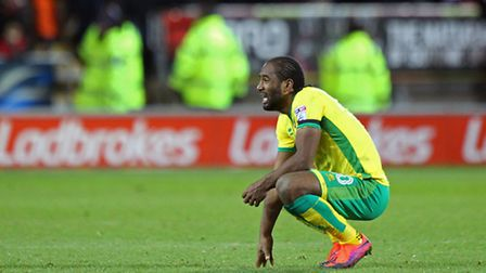 Cameron Jerome looks dejected as Norwich City slump to defeat at Rotherham. Picture by Paul Chestert