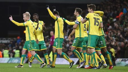 Finally something to smile about for Norwich City's players this season. Picture: Paul Chesterton/Fo