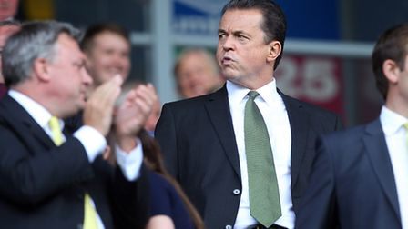 Jez Moxey takes his seat for the first time as Norwich City chief executive at Ewood Park back in Au