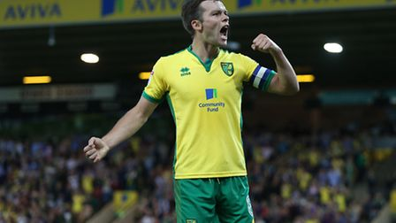 Jonny Howson celebrates scoring Norwich City's eventual winning goal over Bristol City at Carrow Roa
