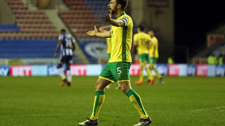 Russell Martin canot believe his header is ruled out for offside, as Norwich City have to settle for