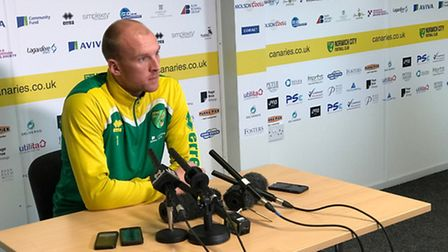 John Ruddy speaks to the media at Colney ahead of Norwich City's Championship trip to Wigan Athletic