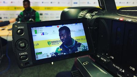 Norwich City midfielder Alex Tettey speaks to the media at Colney ahead of the crunch trip to Sheffi