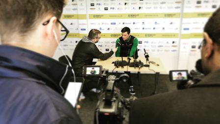 Jonny Howson talks to the media at Colney ahead of Norwich City's Championship trip to Bristol City.