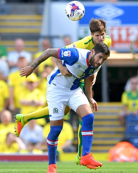 Blackburn dangerman Danny Graham in action against City's Timm Klose on the opening day of the seaso