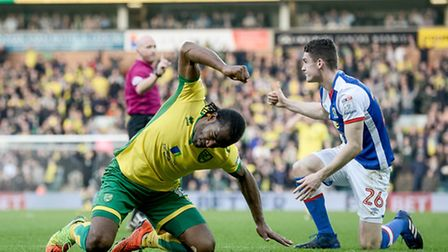 Cameron Jerome takes his frustration out on the pitch during Norwich City's draw with Blackburn. Pic