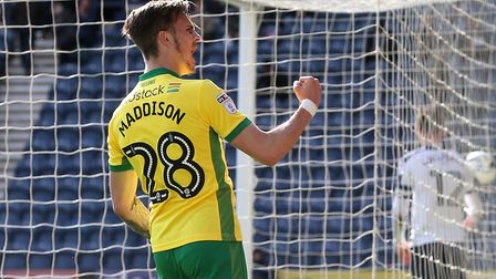 James Maddison celebrates scoring on his Championship debut for Norwich City, as he secures a 3-1 wi