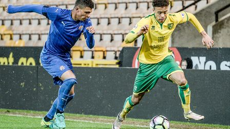 Jamal Lewis, right, in action for Norwich City U23s, has been called up to the Northern ireland U21